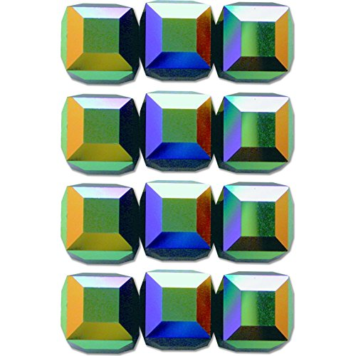- 12 Jet AB Square Cube Swarovski Crystal Beads 5601 6mm