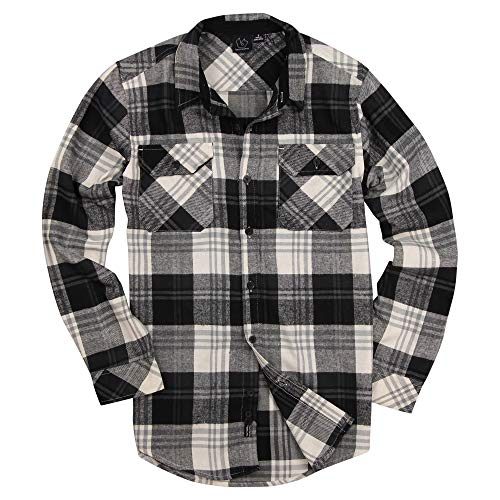 Men's Button Down Long Sleeve Flannel Shirt (Black/White, Small) -