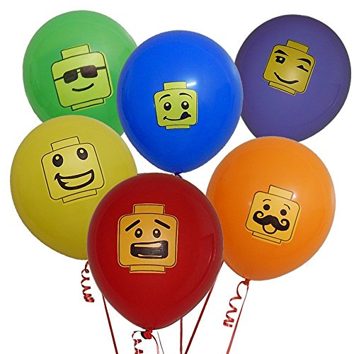Gift Boutique 48 Building Block Party Balloons 6 Colors in 6 Fun Characters Brick Theme Birthday Supplies Favors Decorations Pack -