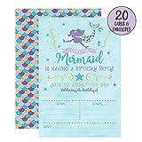 Toys : Mermaid Birthday Invitations, 20 Fill In Mermaid Party Invitations With Envelopes