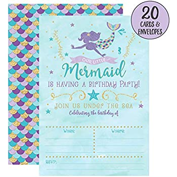 Mermaid Birthday Invitations 20 Fill In Party With Envelopes