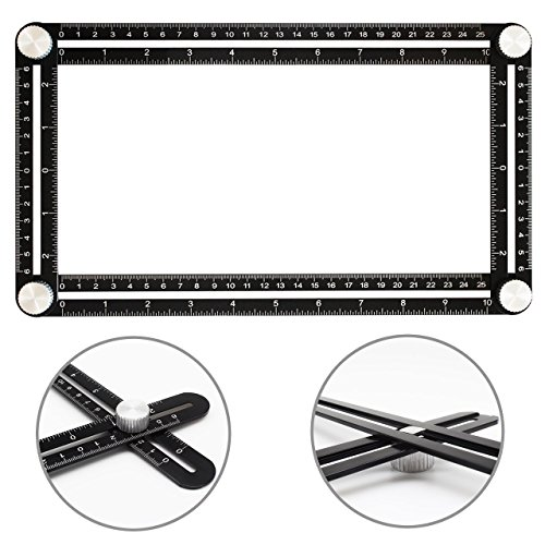ANGLE Multi-Angle Measuring Ruler: FULL-METAL Template Tool (Black) - Perfect For Handymen, Builders, Craftsmen, Carpenters, Roofers, Tilers, DIY-ers & GREAT GIFT by ZivaTech (Image #4)
