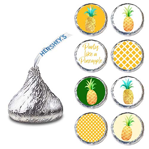 (Party Like a Pineapple Tropical Label for HERSHEY'S KISSES® chocolates - Candy Stickers - Set of 240)