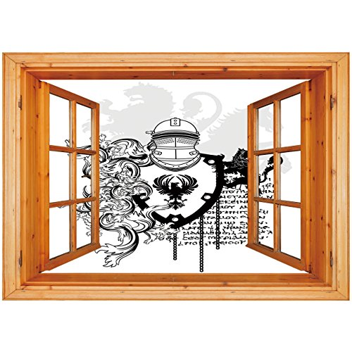 3D Depth Illusion Vinyl Wall Decal Sticker [ Medieval Decor,Heraldic Helmet Coat of Medieval Knight with Ornate Pattern the Past Old Times Graphic,Black White ] Window Frame Style Home Decor Art Remov