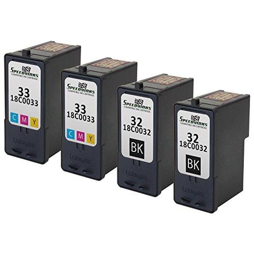 Speedy Inks - Remanufactured Lexmark #32 18C0032 Black & #33 18C0033 Color Ink Cartridges: 2 Black & 2 Color