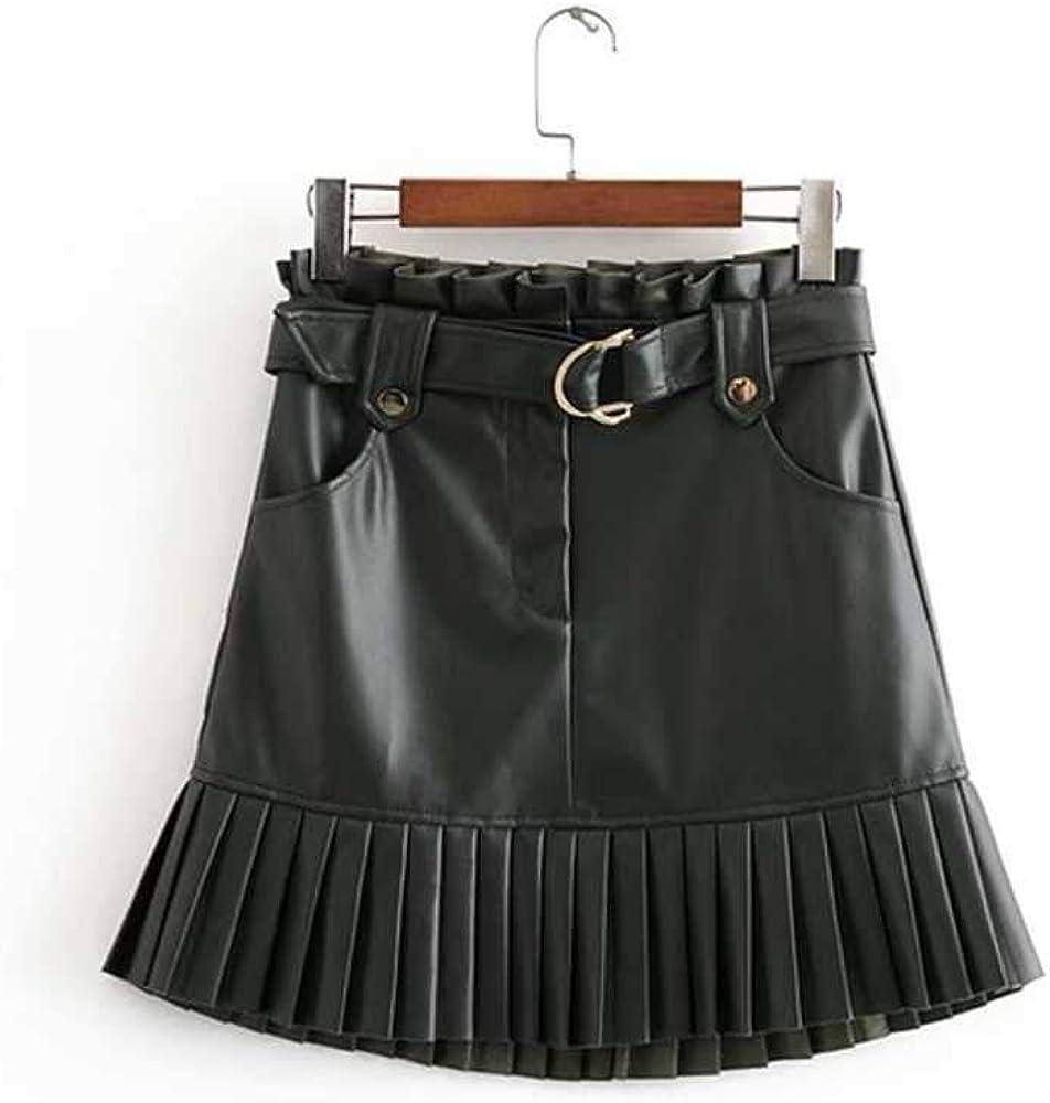 NOBRAND Nueva Tendencia de Moda de otoño Ropa de Mujer en 2020 pequeña Falda de Pastel de Mini Pasos Plisada de Cuero de imitación