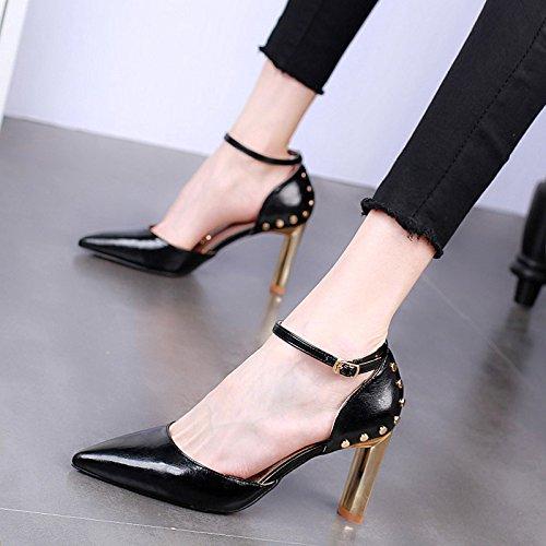 De Altos Sandalias KPHY Tacones Zapatos Remaches 9Cm Hebillas En Mujer black Sexy Moda Bruto Tacones Pointcuts Verano Yzz4qS6T