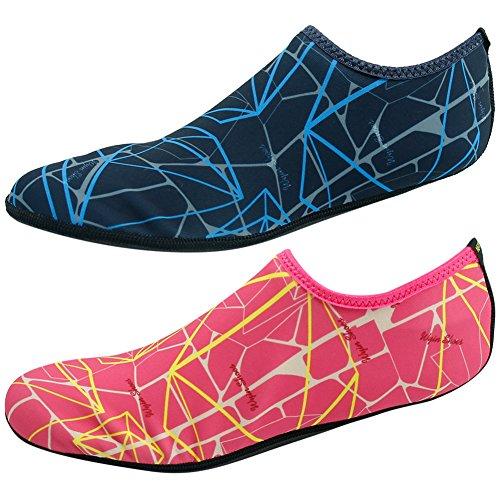 Calzado De Agua Descalzo Gohom Calcetines De Arena Mujer Hombre Zapato De Natación Flexible Playa Aqua Surf Piscina Ejercicio De Yoga Rosa Y Azul Marino 2 Pares