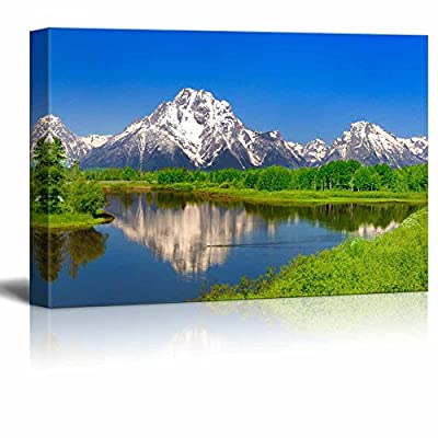 Canvas Prints Wall Art - Beautiful Scenery/Landscape Oxbow Bend at Grand Teton | Modern Home Deoration/Wall Art Giclee Printing Wrapped Canvas Art Ready to Hang - 12