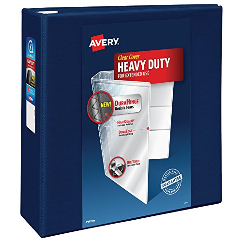 Avery Heavy-Duty Reference View Binder with 4-Inch One Touch EZD Ring, Navy Blue (79804)