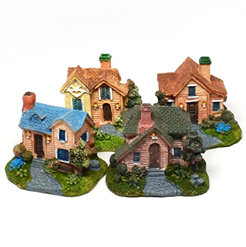 Pixie Glare Miniature Houses. Colonial Detailed Realistic Look (Colonial A - 4 Pack)