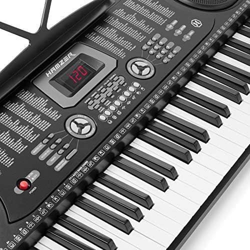 Hamzer 61-Key Electronic Piano Electric Organ Music Keyboard with Stand,  Microphone, Sticker Sheet - Black