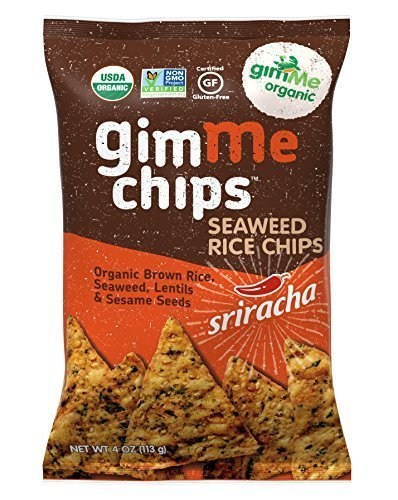 Organic Seaweed Rice Chips: 4 Oz Sriracha Chips, Case of 12 by Gimme Health Foods