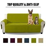 Aidear Anti-Slip Sofa Slipcovers Jacquard Fabric Pet Dog Couch Covers Protectors (Sofa, Yellow Green)