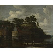Oil Painting 'Jacob Van Ruisdael Three Watermills With Washerwomen ' Printing On Polyster Canvas , 8 X 10 Inch / 20 X 25 Cm ,the Best Garage Gallery Art And Home Artwork And Gifts Is This High Resolution Art Decorative Canvas Prints