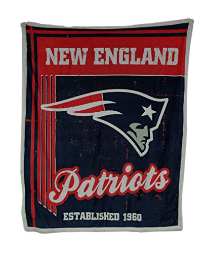 England Soft New Patriots Blanket (Northwest Officially Licensed NFL New England Patriots Old School Mink Sherpa Throw Blanket, 50