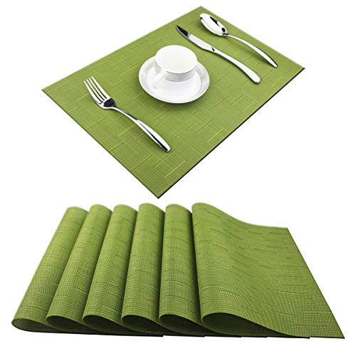 (Pigchcy Placemats,Washable Vinyl Woven Table Mats,Elegant Placemats for Dining Table Set of 6(18