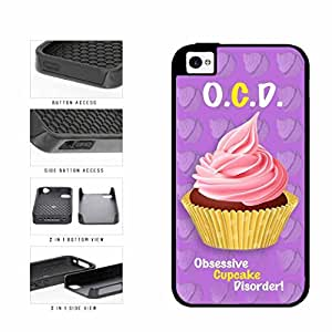 Funny Obsessive Cupcake Disorder Dual Layer Phone Case Back Cover Apple iPhone 5c includes diy case Cloth and Warranty Label