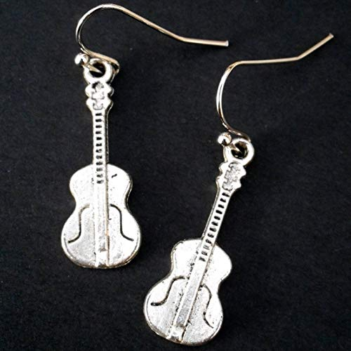 Silver Tone Violin Fiddle Music Instrument Earrings, Musical Jewelry, Gift for a Musician Fiddler
