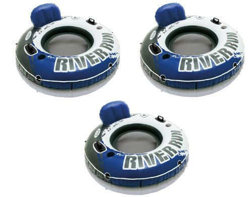 Intex River Run 1 Inflatable Floating Tube Raft for Lake, River, & Pool (3 Pack) (River The Round Run)