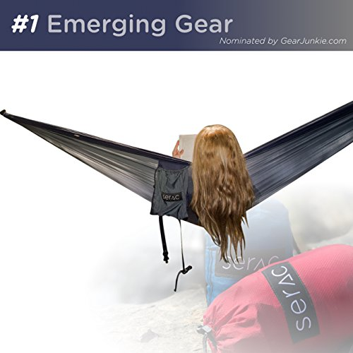 (Serac [Premium Double Hammock & Strap Bundle] Sequoia XL Wide Camping Hammock with Ultralight Ripstop Nylon and Quick-Hang Suspension System - for The Backpack, Travel & Camping (Midnight Navy/Black))