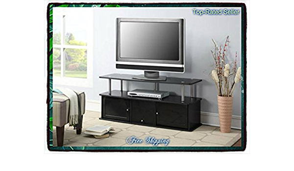 Black Tv Stand Media Entertainment Center 42 50 60 Inch Flat Screen Television Console Storage Furniture Cabinet Wood Home Modern 3 Cabinets Theater Shelf Shelves Television T V New Guarantee It Comes Only Along With Our Free Amazon Com