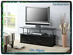 black tv stand media entertainment center 42 50 60 inch flat screen television. Black Bedroom Furniture Sets. Home Design Ideas