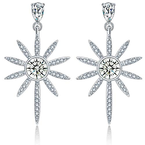 925 Sterling Silver Star Earrings Dangle,Fashion Drop Stars from Swarovski Crystal Jewelry Women's Earrings ()