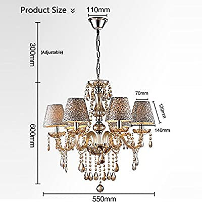 CNlinkco® Crystal Lamp Fixture Pendant 6 Lights Ceiling Chain Lamp Chandelier (6 Bulb Clear)
