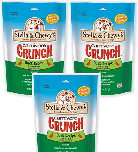 Stella & Chewy's Carnivore Crunch Duck, Freeze-Dried Dog Treats 3.25oz (Pack of 3)