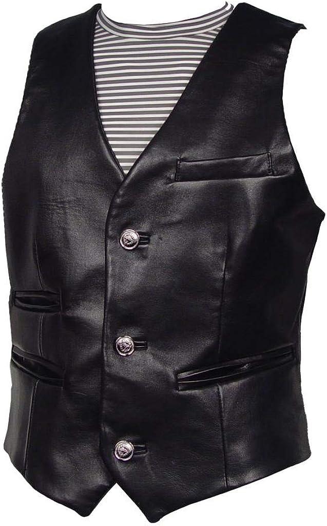 LT Size Lamb Leather Vest Men Black