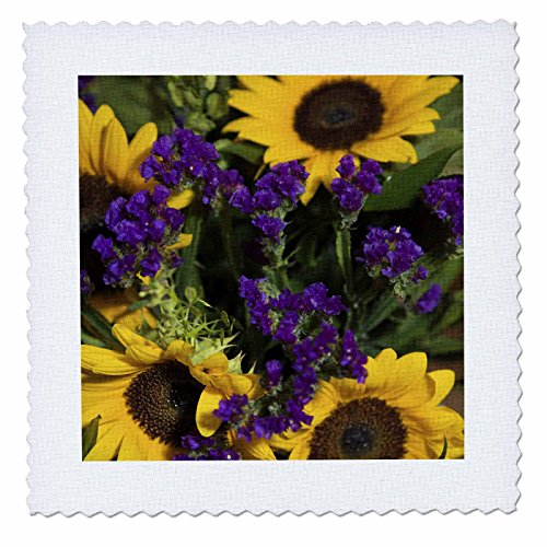 Lio Duvet Covers - 3dRose qs_83197_1 Bridal Flowers, Sunflowers and Purple Statice LI05 LEN0000 Lia S. Engelbrecht Quilt Square, 10 by 10-Inch