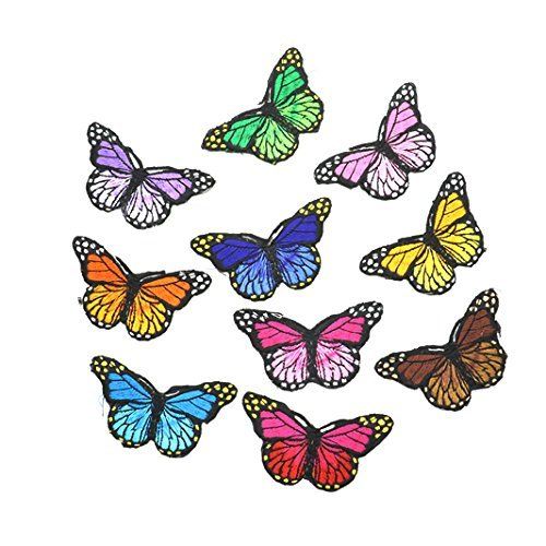 IDS Set of 10 Iron on Butterfly Applique Patches, Sew on Butterfly Patches - Embroidered Appliques, Repair and Decorate Clothing, Bags