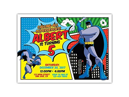 Custom Batman Birthday Party Invitations for Kids, 10pc-60pc 4
