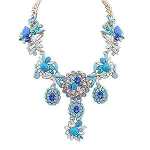 HKB Collar de flores de la piedra preciosa del diamante de la manera-Azul