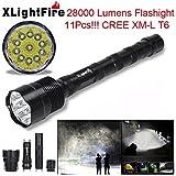 TOPUNDER XLightFire 28000 Lumens 11x CREE XML T6 5 Mode 18650 Super Bright LED Flashlight