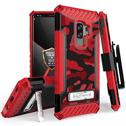 Beyond Cell Trishield Series Compatible with S9+ Case/Military Grade Rugged Cover + [Metal Kickstand] + [ Belt Clip Holster ] Compatible with Samsung Galaxy S9 Plus (2018) - Printed Red Camouflage from Beyond Cell
