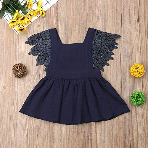 YoungG-3D Infant Newborn Baby Girls Dress Summer Lace Ruffles Princess Baby Girl Dresses Party Travel,Blue,Zt ()