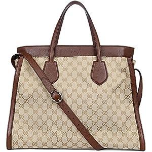 655ab9e12a6da1 Gucci Ramble Original GG Canvas and Brown Leather Layered Tote Handbag  370820