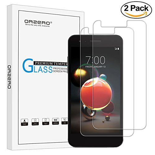 """[2 Pack] Orzero For """" LG Aristo 2 """" """" LG K8 2018 """" MetroPCS Tempered Glass Screen Protector, 2.5D Arc Edges 9 Hardness HD Anti-Scratch Bubble-Free [Lifetime Replacement Warranty]"""