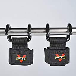 VALEO 2 x Black Power Double Hooks Weight Lifting Hook Bodybuilding Wrist Straps Support Chin Up Bar Strength Training