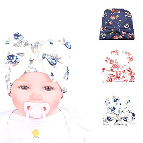 Ademoo Newborn Baby Girls Nursery Beanie Hospital Hat with Bow (Floral Bow 3 Colors)