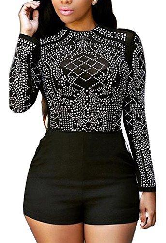 Women Elegant Crewneck Long Sleeve Rhinestone Bodycon Clubwear Party Short Jumpsuit Rompers XL - Capri Bodysuit