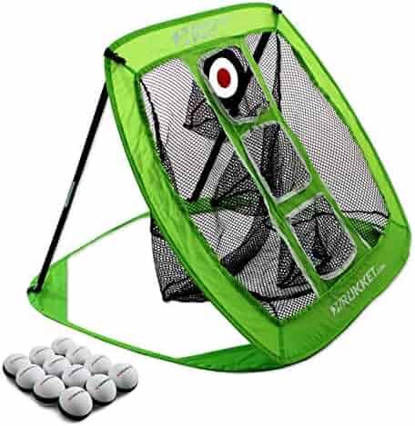Rukket Pop Up Golf Chipping Net | Outdoor/Indoor Golfing Target Accessories and Backyard Practice Swing Game with Foam Training Balls