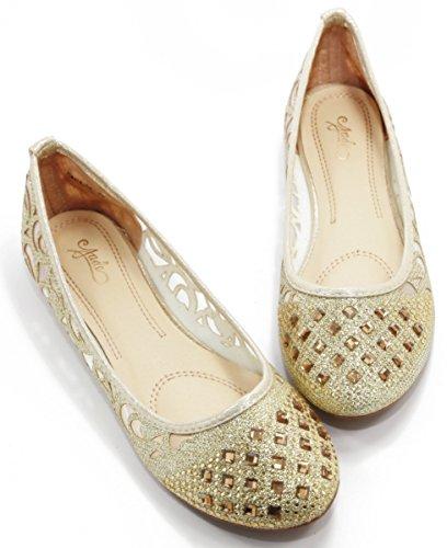 WALSTAR Women Casual Strass Glitter Mesh Slip auf Ballett flache Lightweigh Gold