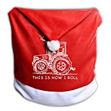 SDZUOYIT26 This is How I Roll Funny Farmer Or Farming Tractor Santa Hat Chair Covers Christmas Dining Room Chair Covers Christmas Party