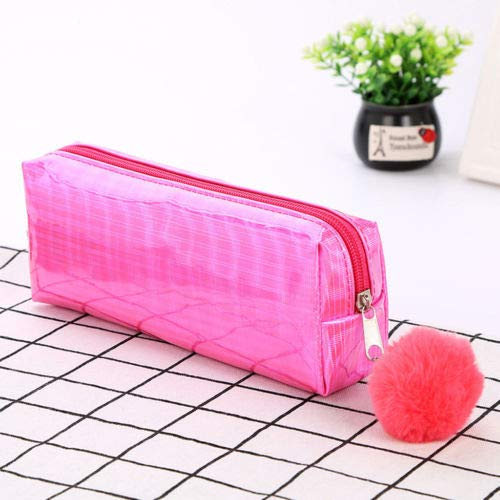 Laser Pencil Case Fur Ball Pendant Stationery Office School Supplies Makeup Bags (Color - B-Hot pink) (Brocade Poly)