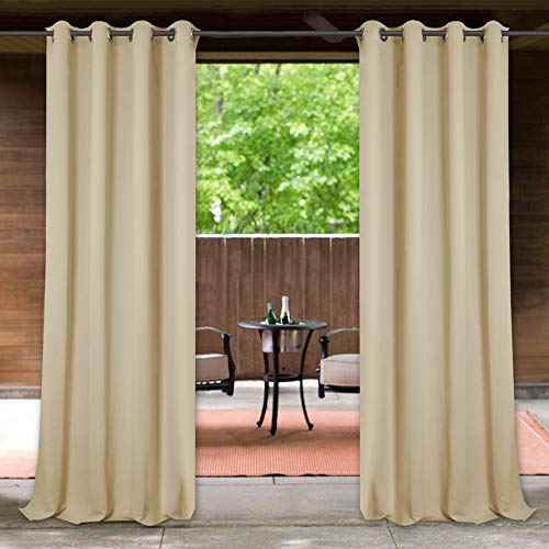Outdoor Decor Shade Drapes 95-inch – Wind & Water Repellent Patio Outdoor Curtains Sunlight Block Curtain Panels with Rust Proof Grommets for Balcony/Gazebo, Width 52″ by Length 95″, 1 Piece