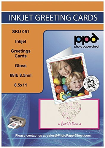 PPD Inkjet Gloss Printable Greeting Cards LTR 8.5 x 11