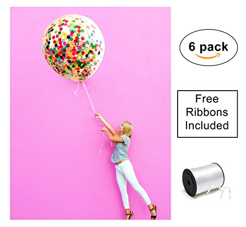 Confetti Balloons 36 giant reusable clear six pack set (6pcs) FREE ribbons included with prefilled multicolor paper crepe, for parties, helium & air latex jumbo by Inteliproducts central
